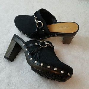 Coach 'Shasha' Size 8 Black Studded Clogs / mules
